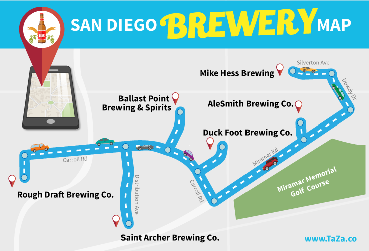 visit six breweries in one day with this san go brewery map